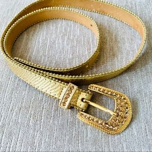 Cache gold studded genuine leather belt size L